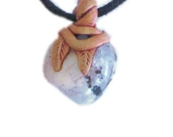 speckled white polished stone pendant, polymer clay on adjustable cotton wax cord necklace, UK