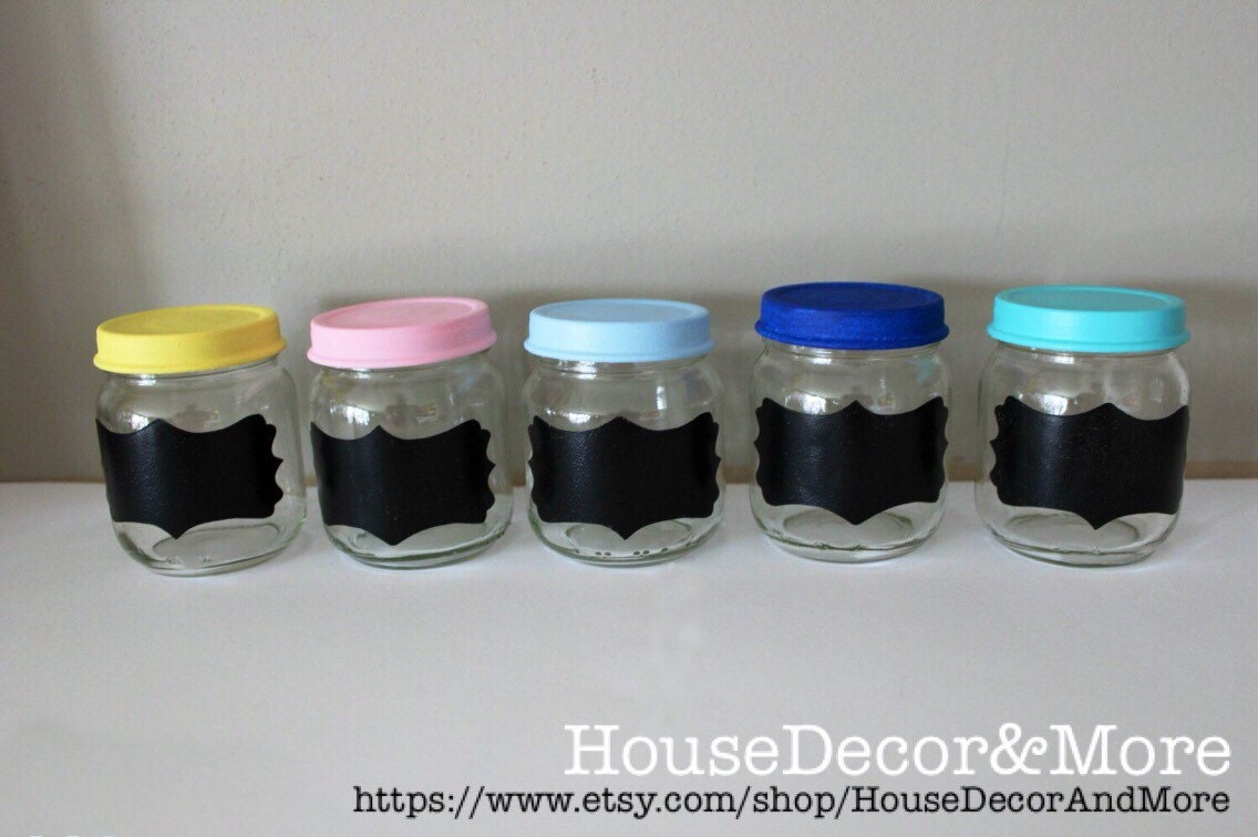 10 baby food jars glass jars with your choice of painted lids. Black Bedroom Furniture Sets. Home Design Ideas