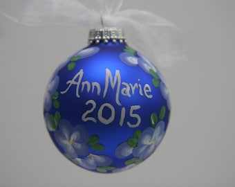 Personalized Hand Painted Glass Ornament