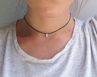 The Lucita Choker - Dainty silver drop bead choker on black adjustable choker necklace, 11 inch length with extender by Serenity Project
