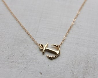 Gold Anchor Charm Necklace, Gold Sideways Anchor Necklace, Anchor Jewelry, Gift for Mom Wife Girlfriend  Best Friend