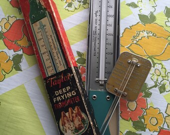 Vintage Taylor Deep Frying Thermometer - Bonus Roast Meat Thermometer - Original Box 1950's Kitchen Gadgets