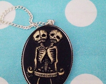 Siamese Conjoined Twins Skeletons Cameo Necklace Morbid Halloween