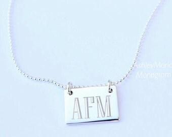 Monogram Sterling Silver Necklace, Monogram Necklace