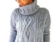 Blue Gray Plus Size Hand Knitted Sweater with Poloneck / Wool Sweater / Oversized Tunic with Cable Knit / Big Size Chunky Knit Sweater