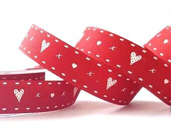 Hearts & Kisses Print on Deep Red 15mm Ribbon *Sold Per Metre*