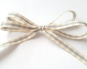 Pale Grey and Ivory Rustic Gingham 7mm Wide Ribbon
