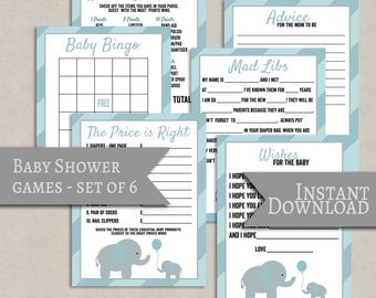 Blue Baby Shower printable games set of 6, blue elephant design, boy baby shower, elephant theme babyshower games baby mad libs, baby bingo