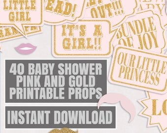 40 Baby Shower Photo Booth Props, Pink And Gold, Printable Baby Shower  Photo Booth