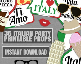35 Italian Photo Booth Props, Italy themed party props, love rome party, italia photobooth sign, italian flag pizza props, instant download