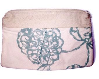 Medium Pleated Cosmetic Bag - Seafoam Floral Geometric with Lining