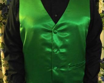 Green satin vest