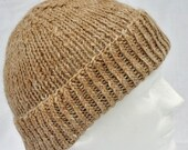 Handspun, Hand Knit, Tan (Fawn) Winter Hat. Warm, tan, fawn, toque, watch cap, ski hat, beanie.