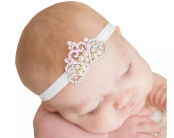Beautiful baby princess headband! Perfect for photo sessions! Cake smash sessions! First photos!