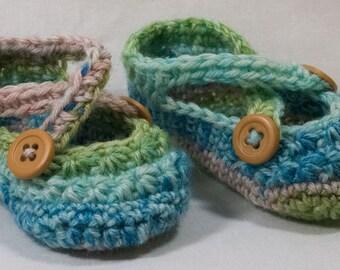 CROCHETED BABY BOOTIES - Green, Blue, & Grey; Preemie/Newborn