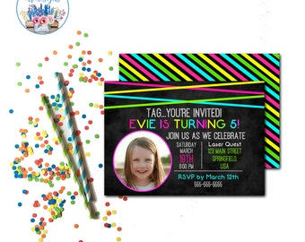Laser Tag Birthday Party Invitations, Laser Tag Invitation, Laser Tag Birthday, Laser Tag Party