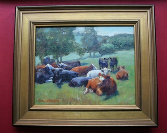 Oil Painting, Cows, Pasture, Hillside, Farm