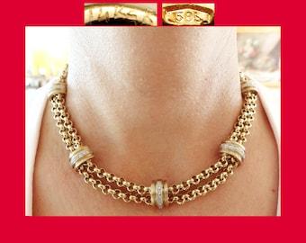 "585/14K DIAMOND Rolo Link Necklace~KC Designs~17"" Gold Collar Choker~Heavy 42 GRAMS~Deco Modern Vintage~Retro~Hollywood Regency~High Fashion"