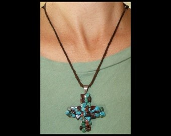 """Signed Sterling TURQUOISE CROSS Pendant~1 1/2""""~Petrified Wood~Vintage Southwestern Silver~Adjustable Leather Necklace 28""""-15"""" Choker or Long"""