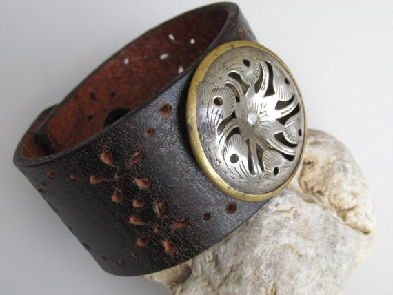 Leather cuff women 39 s bracelet repurposed upcycled belt Repurposed leather belts