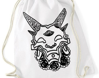 Hand printed Gym Bag / Sports Bag / gym sac/ cotton bag with devil/demon/flower motive/print  Black / White / Ecru 37 x 46 cm