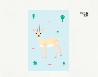 "Thomson's Gazelle postcard, 4""x6"", Endangered Animal, Illustration, Art print"