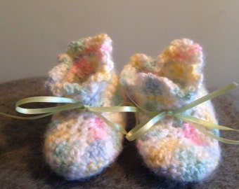 Multi Colored Crochet Baby Booties