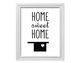 Black Home Sweet Home, Modern Home Print, Home Art, Mid Century Home Printable, Ranch Home Download, Heart Home Art, Black Home Wall Decor