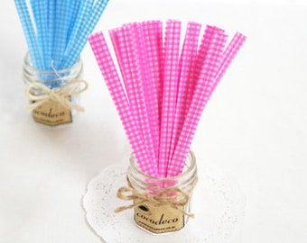 50 Pink Plaid Twist Ties Gift Wrapping