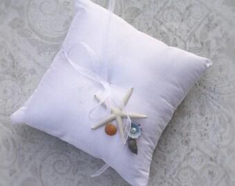 Beach Wedding Ring Bearer Pillow - Beachcomber Weddings - Destination Wedding - Starfish Seashells Summer Ocean Nautical Yacht Club