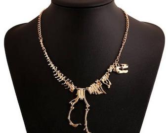 T-Rex Skeleton Necklace (gold)