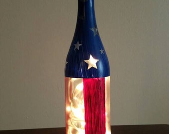Stars and striped lighted bottle