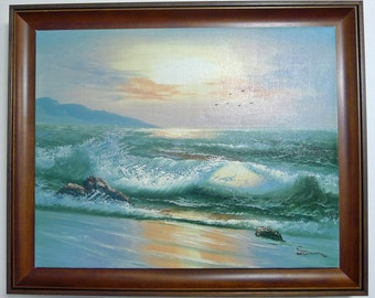 Custom Framed Art, Original Oil Painting of Ocean Waves on the Beach