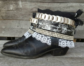 Boho boots, Upcycled REWORKED boots, boho COWBOY BOOTS - custom boho boots - festival boots - gypsy boots