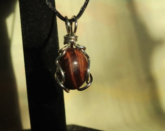 Sterling Silver and Red Tiger's Eye Handmade Pendant