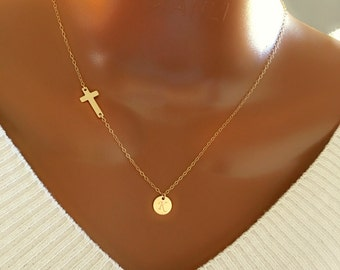 14k Gold Filled Cross and Discs Necklace, Personalized Initial Necklace, Sister Necklace, Beautiful Gift, Gift for Her, Birthday Gift