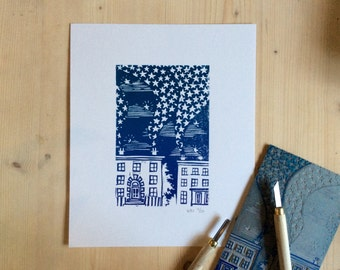 Little Houses Linocut  - Original Print