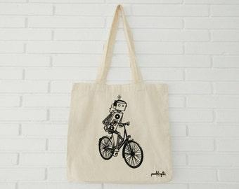 Canvas Tote Bag, Bag with Robot, Canvas Bag, Bike, Reusable, Shopping Bag, Gift