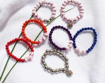 Baseball Bracelets Beaded, Athletic Bracelets, Sports Bracelets, Baseball Team Bracelets