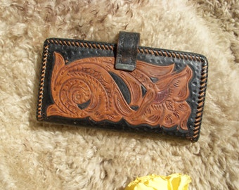 Vintage Tooled Leather Bi-fold Leather Wallet