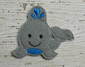 Whale Feltie Set of 4 - Hair Bow Supplies - Clippie Cover - Badge Reel Cover - Craft Supply - Scrapbooking - Card Making - Planner Clip