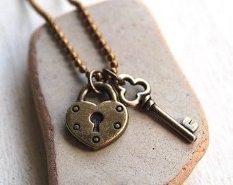 Brass Lock and Key Necklace, Antique Brass Heart Lock and Key Charm Necklace, Simple Heart Lock and Key Necklace