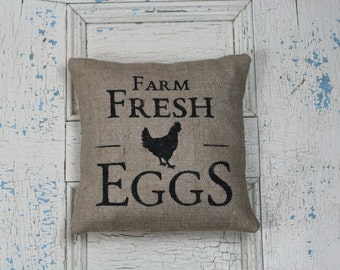 Farm Fresh Eggs Pillow, Burlap Pillow, Rustic Decor, Decorative Pillow