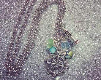 compass charm bangle bracelet..find your way... Lighthouse charm