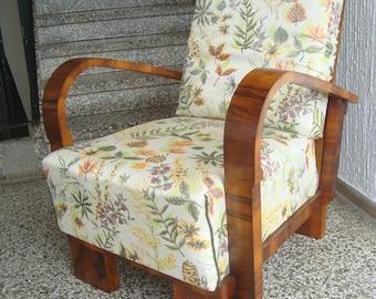 Art deco armchair in walnut veneer, 1920-1930s