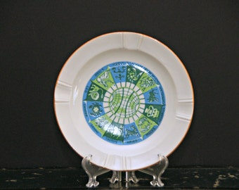 Zodiac Ashtray, Green, Blue, 12 Signs, Astrology, Globe, Made in Japan, Original Label, Mid Century, 1960s, Age of Aquarius, Vintage, Retro