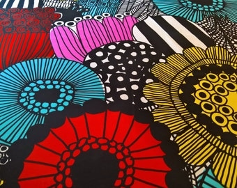 Marimekko SIIRTOLAPUUTARHA 100% Cotton Fabric Maija Louekari Black White Colorful!! 1 1/2 yards!