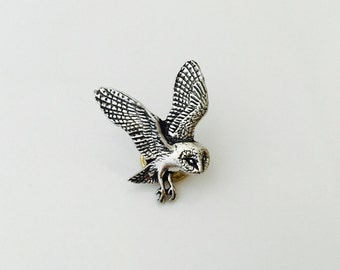 Owl Pewter Pin by A R Brown. Flying Owl Pin Owl Brooch.