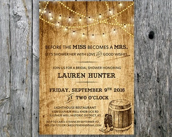 Country Bridal Shower Invitation with Lights and Cowboy Boots - Printable Bridal Shower Card