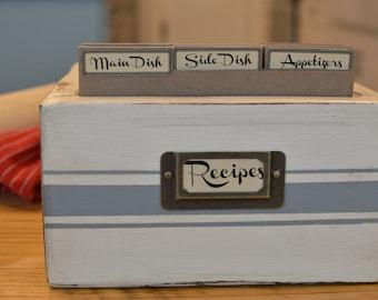 Heirloom Recipe Box and Dividers: Cream/Gray Blue